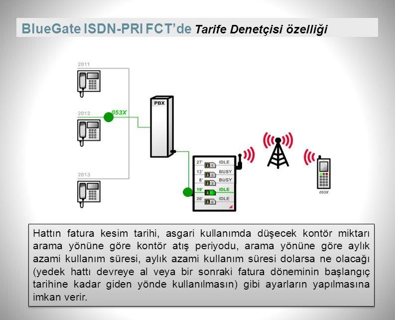 BlueGate ISDN-PRI FCT'de Tarife Denetçisi özelliği