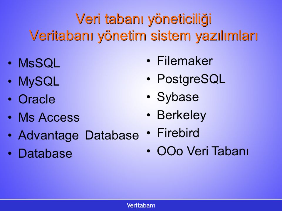 Veri tabanı yöneticiliği Veritabanı yönetim sistem yazılımları