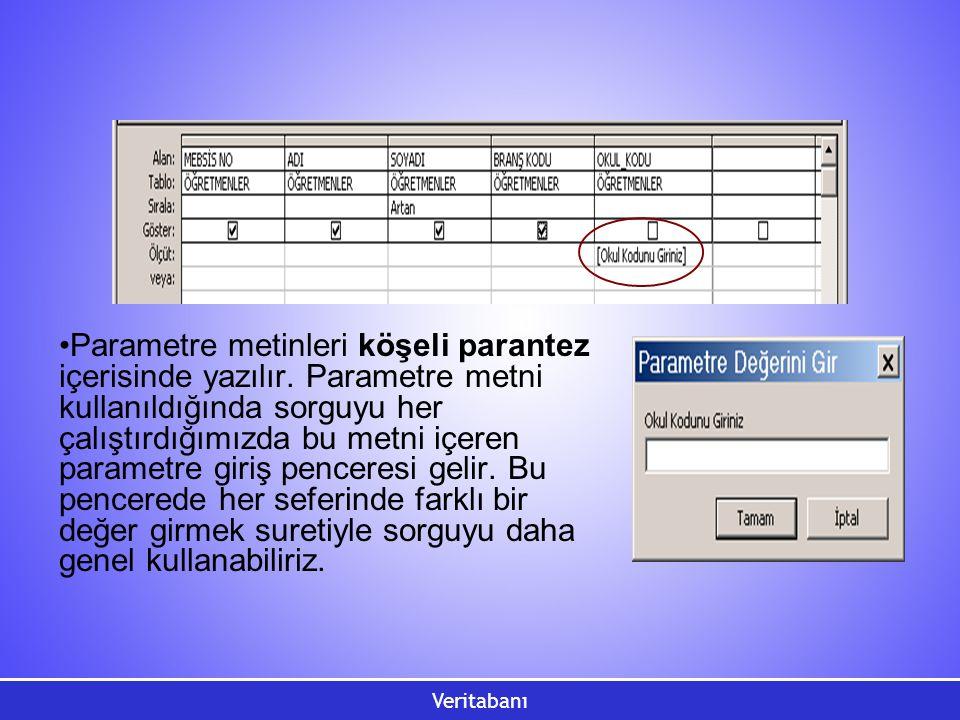 Parametre metinleri köşeli parantez içerisinde yazılır