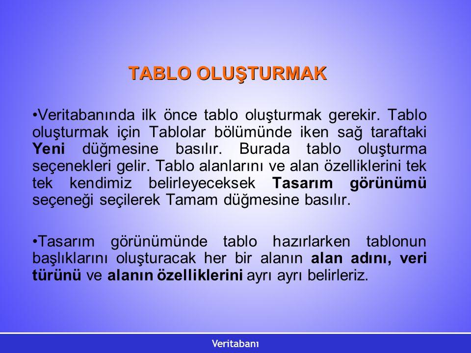 TABLO OLUŞTURMAK