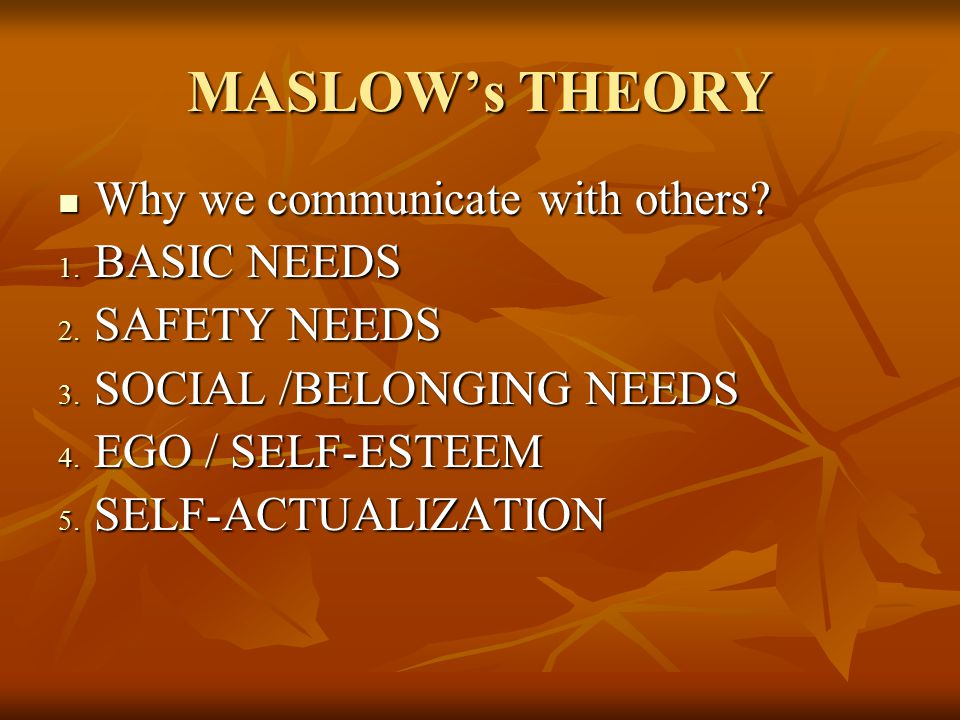 MASLOW's THEORY Why we communicate with others BASIC NEEDS