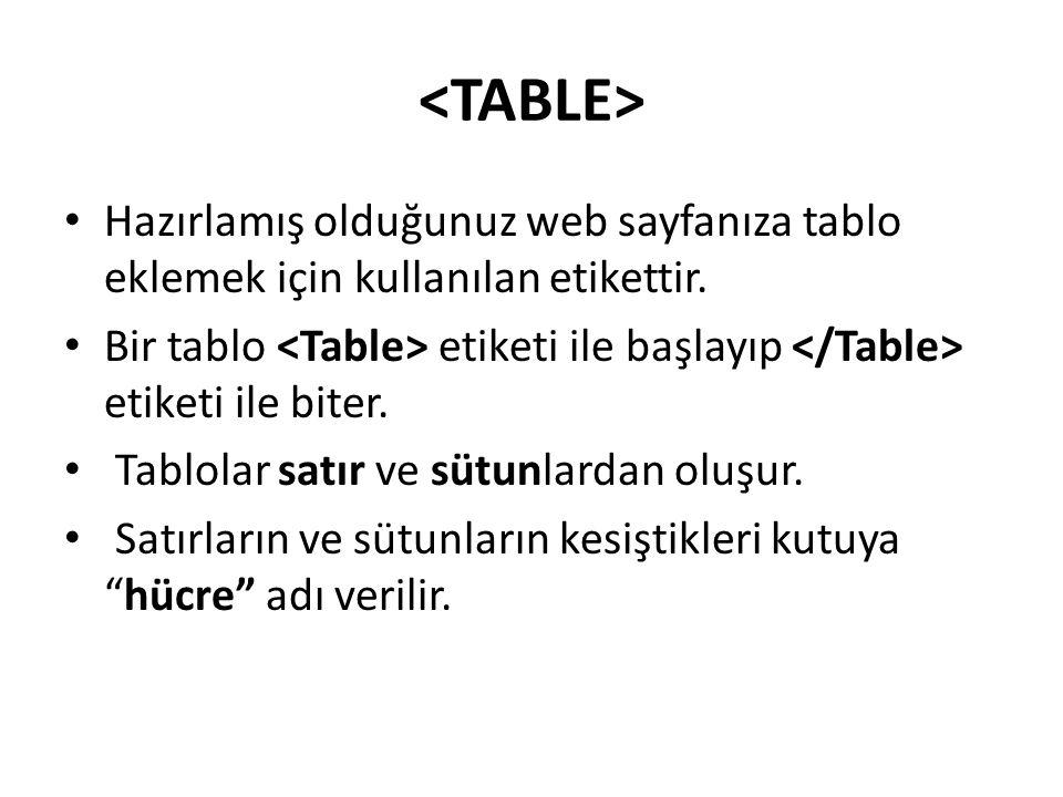 <TABLE> Hazırlamış olduğunuz web sayfanıza tablo eklemek için kullanılan etikettir.