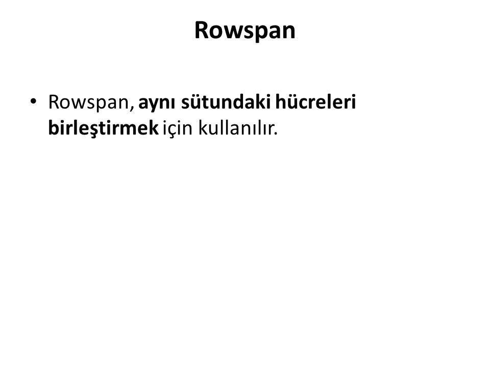 Rowspan Rowspan, aynı sütundaki hücreleri birleştirmek için kullanılır.