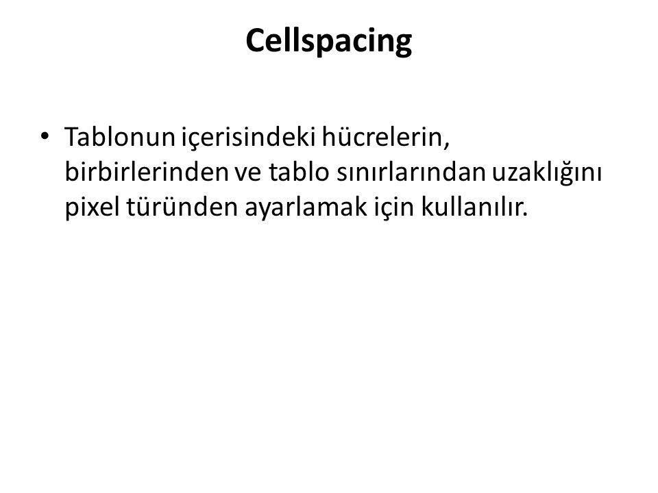 Cellspacing Tablonun içerisindeki hücrelerin, birbirlerinden ve tablo sınırlarından uzaklığını pixel türünden ayarlamak için kullanılır.