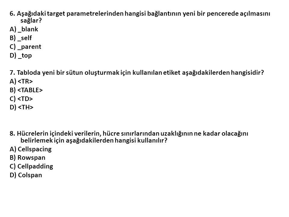 6. Aşağıdaki target parametrelerinden hangisi bağlantının yeni bir pencerede açılmasını sağlar.