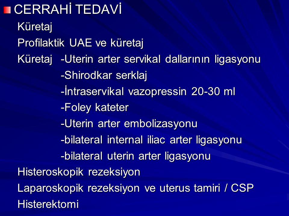 CERRAHİ TEDAVİ Küretaj Profilaktik UAE ve küretaj