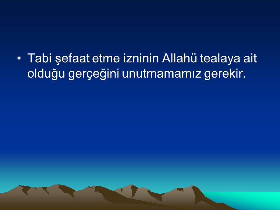 Tabi şefaat etme izninin Allahü tealaya ait olduğu gerçeğini unutmamamız gerekir.