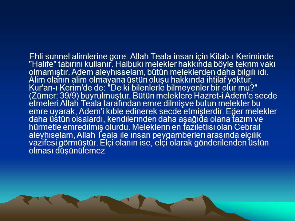 Ehli sünnet alimlerine göre: Allah Teala insan için Kitab-ı Keriminde Halife tabirini kullanır.