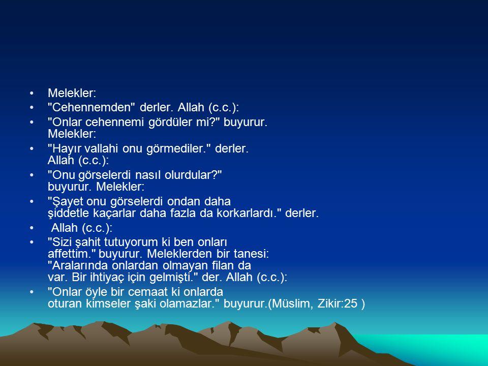 Melekler: Cehennemden derler. Allah (c.c.): Onlar cehennemi gördüler mi buyurur. Melekler: