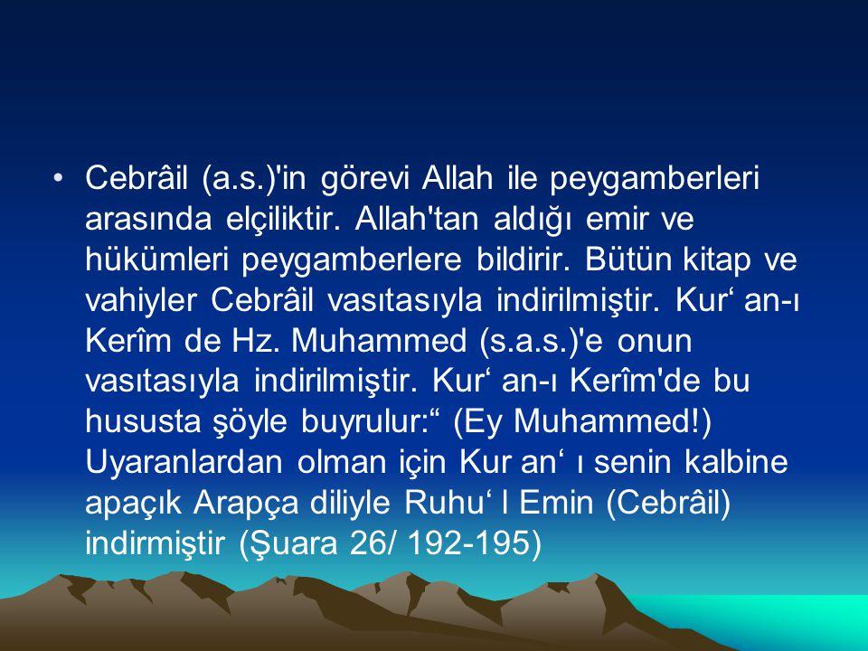 Cebrâil (a. s. ) in görevi Allah ile peygamberleri arasında elçiliktir