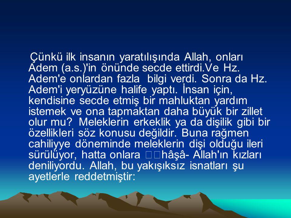 Çünkü ilk insanın yaratılışında Allah, onları Adem (a. s