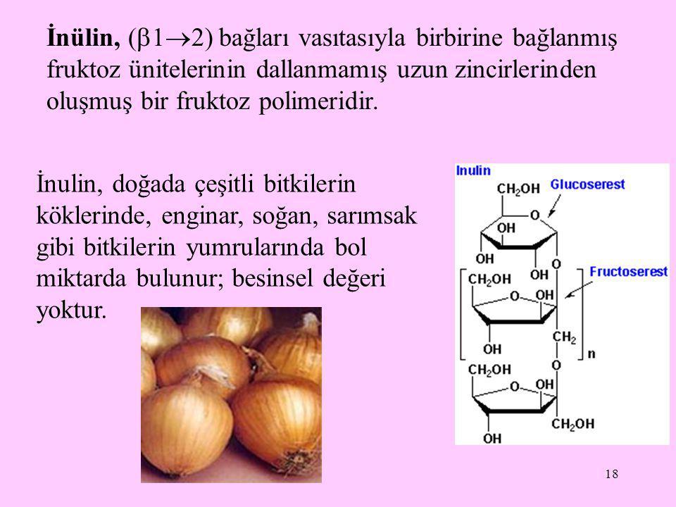 İnülin, (12) bağları vasıtasıyla birbirine bağlanmış fruktoz ünitelerinin dallanmamış uzun zincirlerinden oluşmuş bir fruktoz polimeridir.