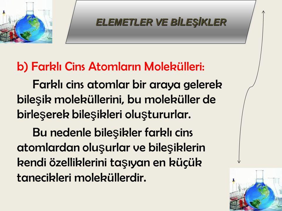 b) Farklı Cins Atomların Molekülleri: