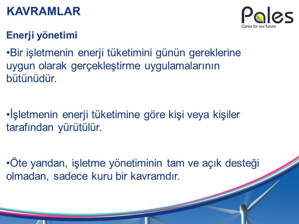 KAVRAMLAR Enerji yönetimi. Bir işletmenin enerji tüketimini günün gereklerine uygun olarak gerçekleştirme uygulamalarının bütünüdür.