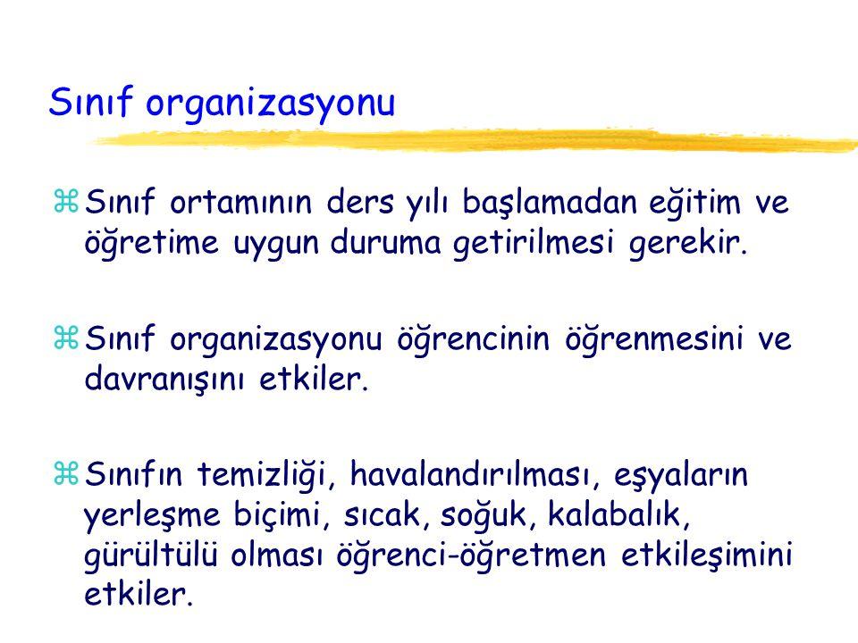 Sınıf organizasyonu Sınıf ortamının ders yılı başlamadan eğitim ve öğretime uygun duruma getirilmesi gerekir.