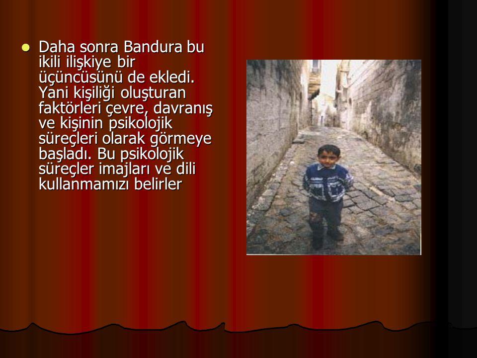 Daha sonra Bandura bu ikili ilişkiye bir üçüncüsünü de ekledi