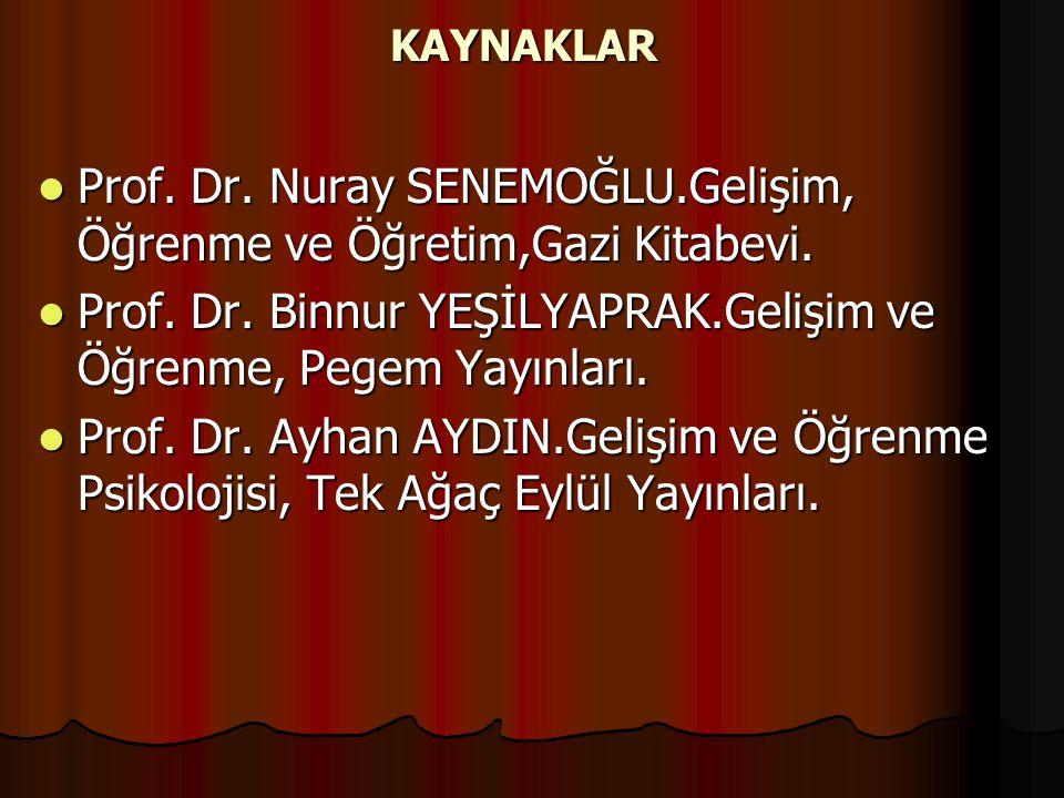 Prof. Dr. Nuray SENEMOĞLU.Gelişim, Öğrenme ve Öğretim,Gazi Kitabevi.