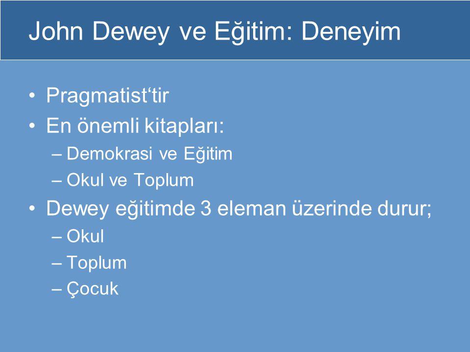John Dewey ve Eğitim: Deneyim