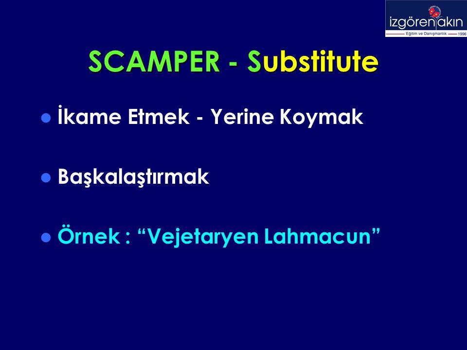 SCAMPER - Substitute İkame Etmek - Yerine Koymak Başkalaştırmak