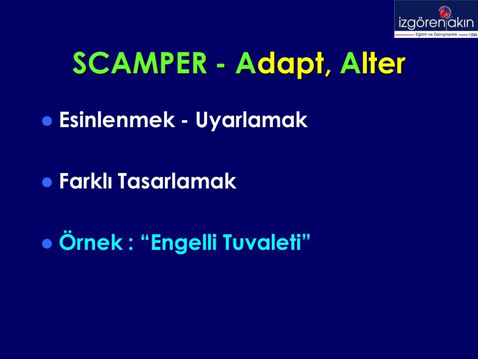 SCAMPER - Adapt, Alter Esinlenmek - Uyarlamak Farklı Tasarlamak