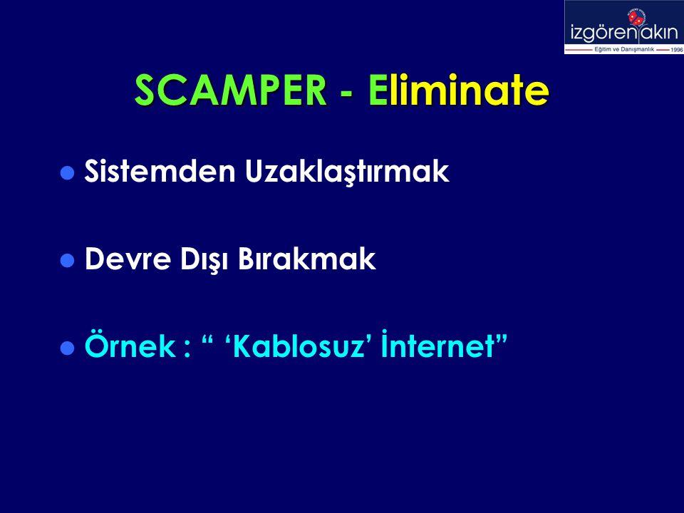 SCAMPER - Eliminate Sistemden Uzaklaştırmak Devre Dışı Bırakmak