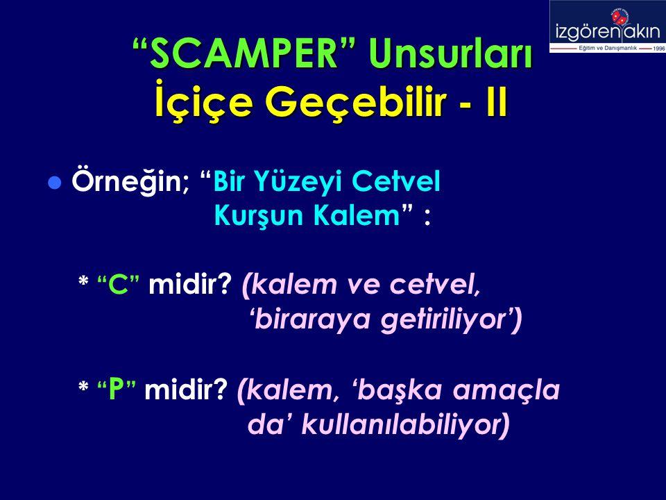 SCAMPER Unsurları İçiçe Geçebilir - II