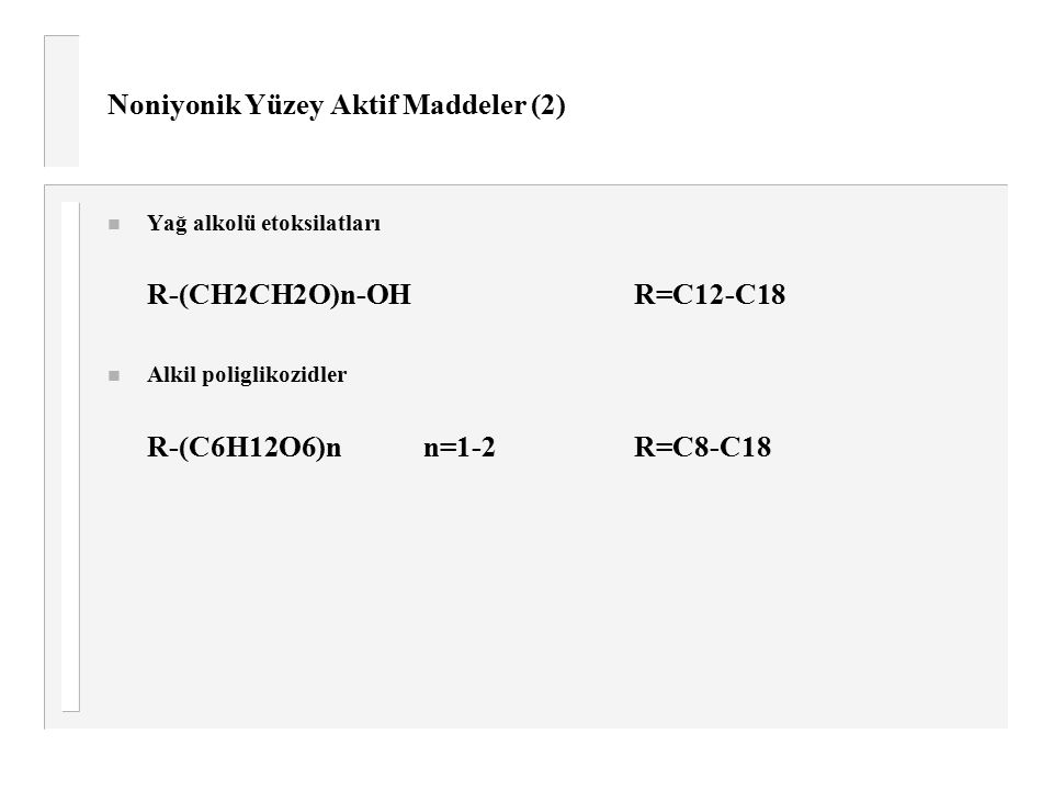 Noniyonik Yüzey Aktif Maddeler (2)