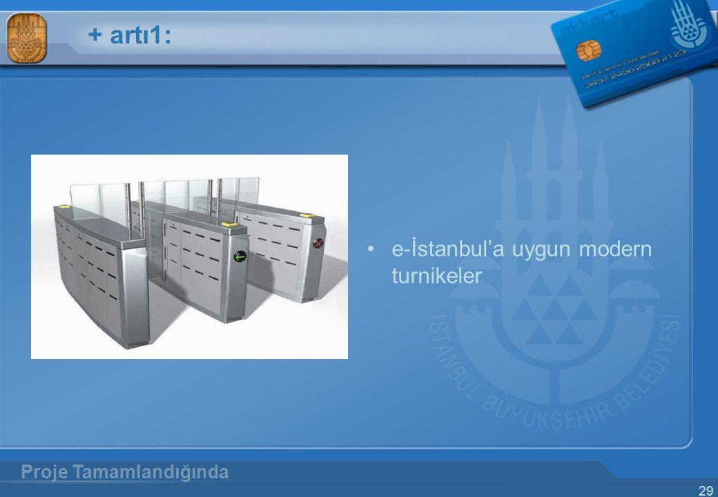 + artı1: e-İstanbul'a uygun modern turnikeler Proje Tamamlandığında