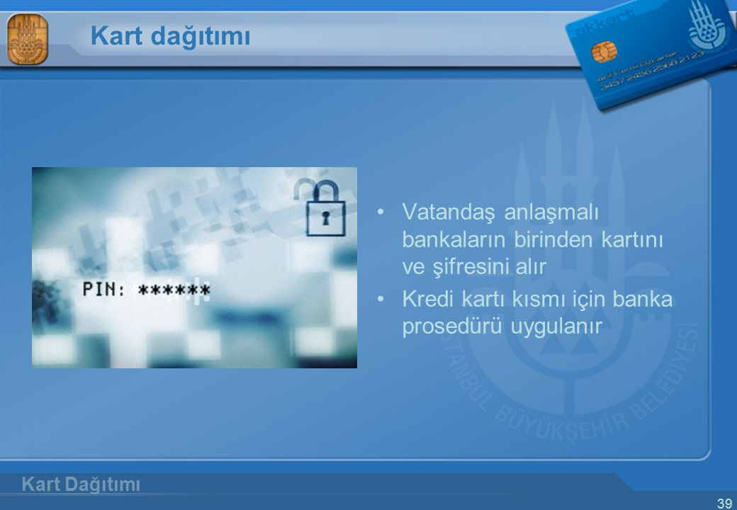 Kart dağıtımı Vatandaş anlaşmalı bankaların birinden kartını ve şifresini alır. Kredi kartı kısmı için banka prosedürü uygulanır.