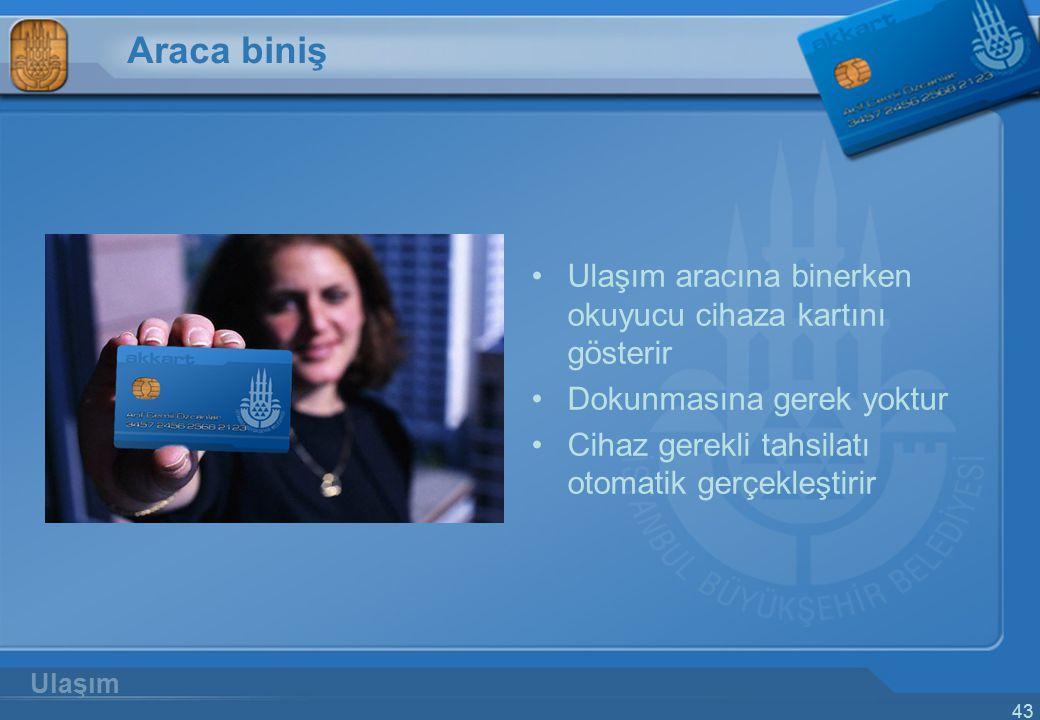 Araca biniş Ulaşım aracına binerken okuyucu cihaza kartını gösterir