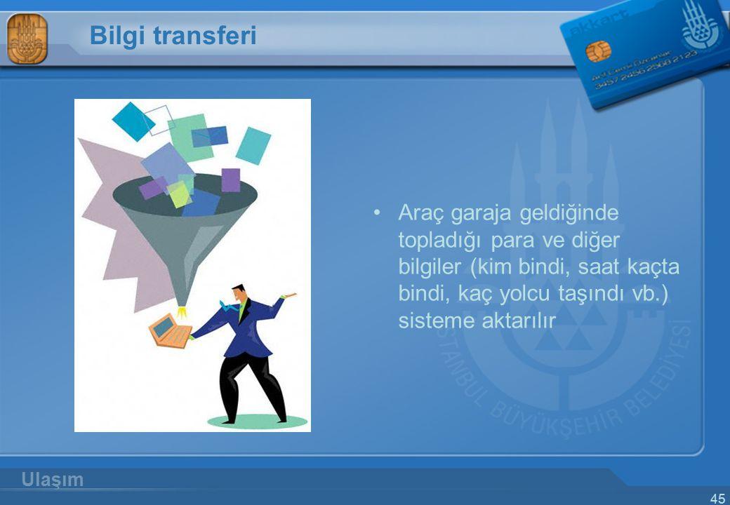 Bilgi transferi Araç garaja geldiğinde topladığı para ve diğer bilgiler (kim bindi, saat kaçta bindi, kaç yolcu taşındı vb.) sisteme aktarılır.