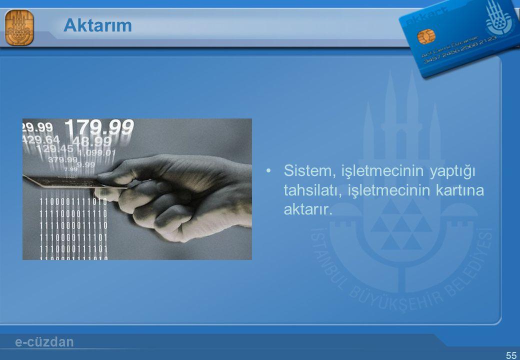 Aktarım Sistem, işletmecinin yaptığı tahsilatı, işletmecinin kartına aktarır. e-cüzdan