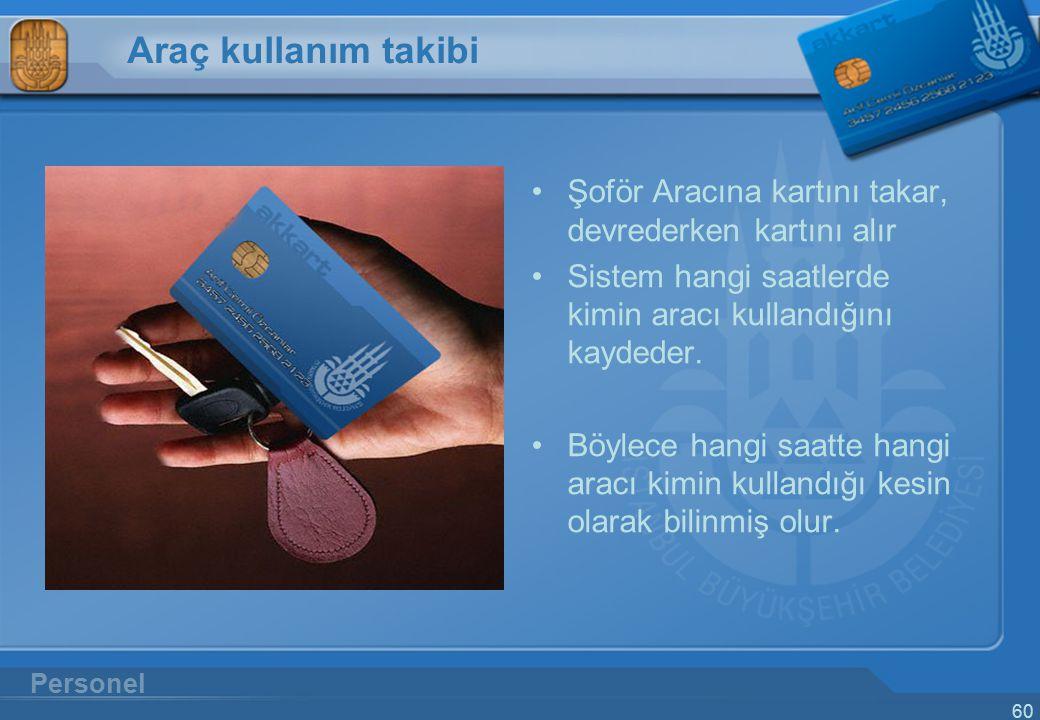 Araç kullanım takibi Şoför Aracına kartını takar, devrederken kartını alır. Sistem hangi saatlerde kimin aracı kullandığını kaydeder.