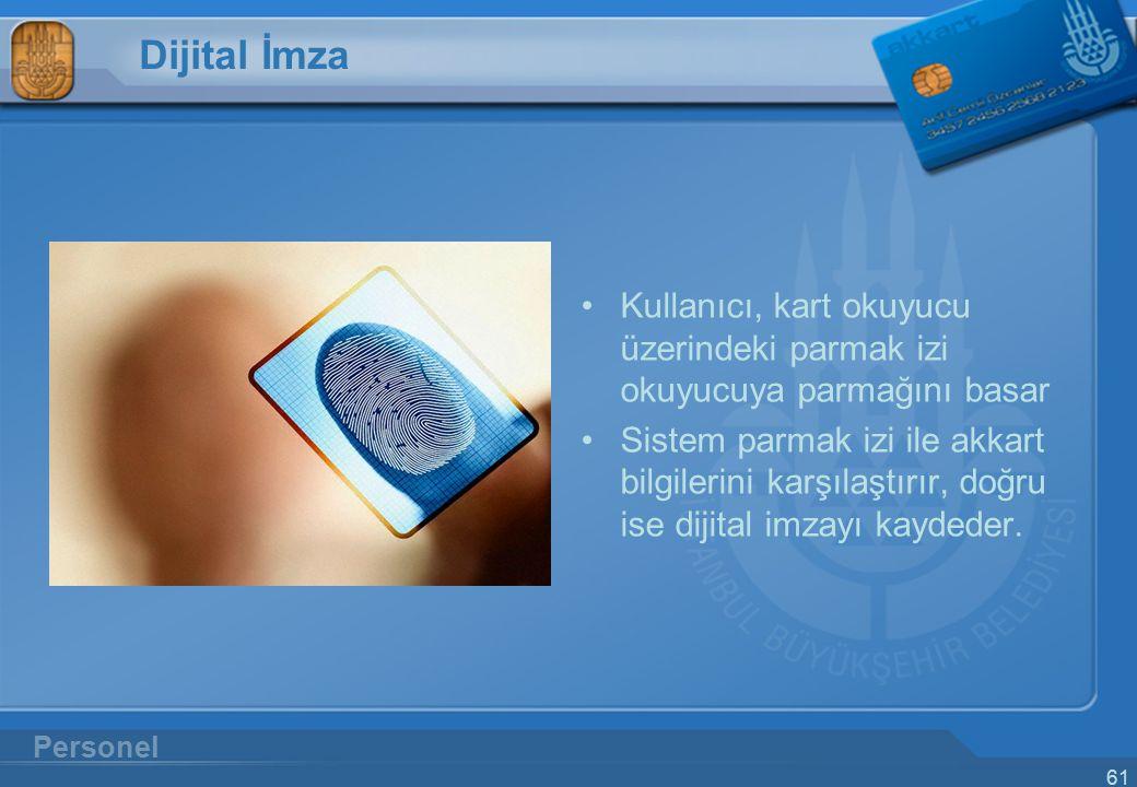 Dijital İmza Kullanıcı, kart okuyucu üzerindeki parmak izi okuyucuya parmağını basar.