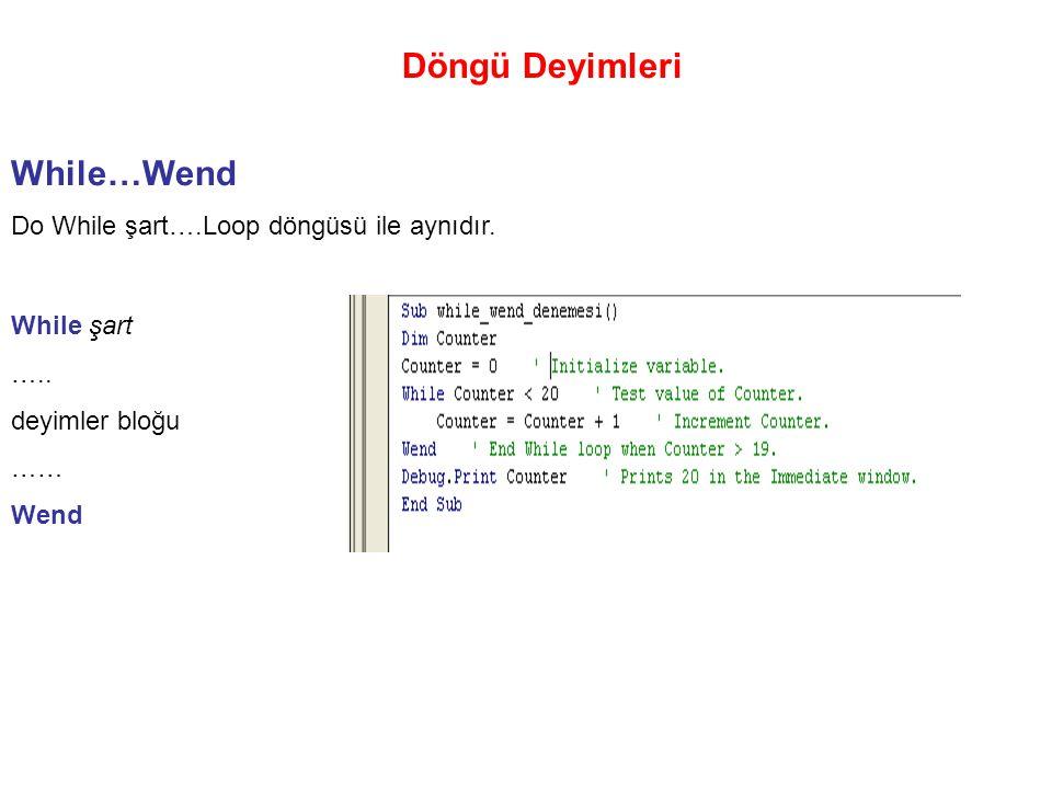 Döngü Deyimleri While…Wend Do While şart….Loop döngüsü ile aynıdır.