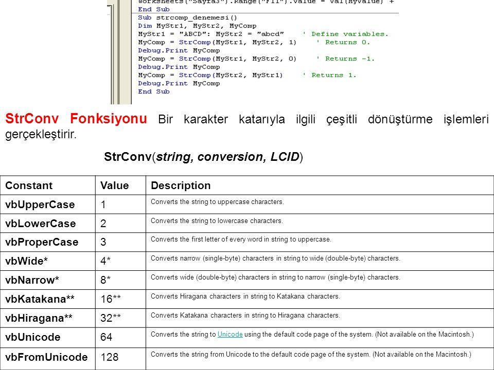 StrConv Fonksiyonu Bir karakter katarıyla ilgili çeşitli dönüştürme işlemleri gerçekleştirir.