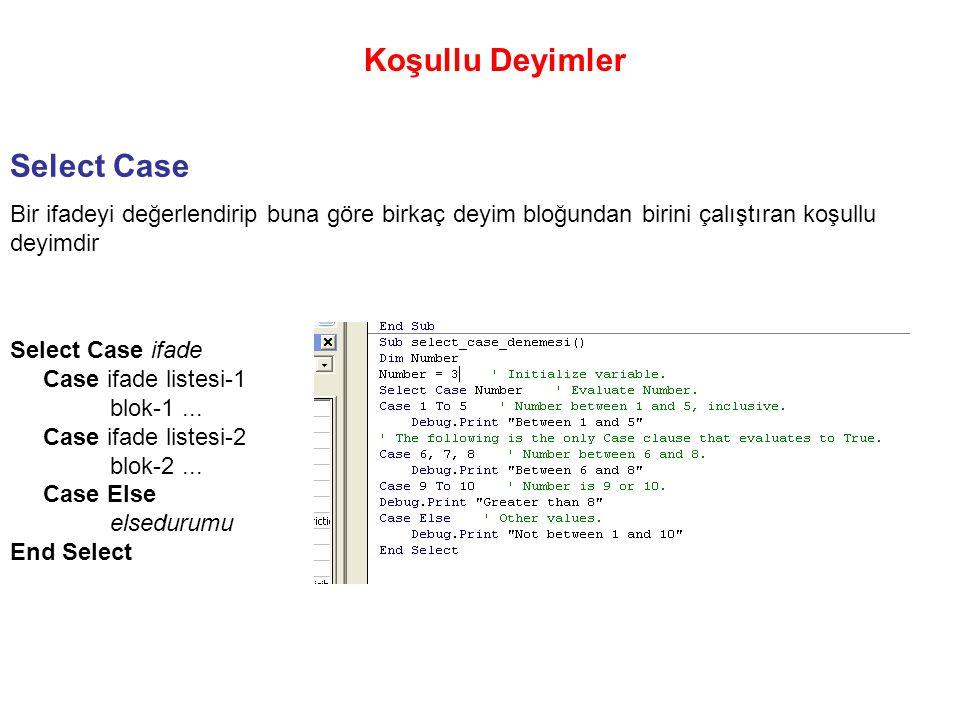 Koşullu Deyimler Select Case