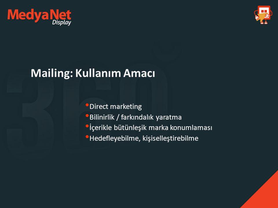 Mailing: Kullanım Amacı