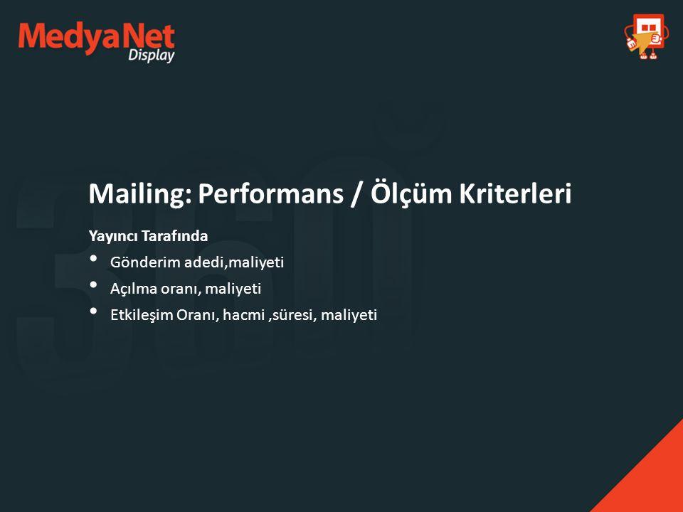Mailing: Performans / Ölçüm Kriterleri