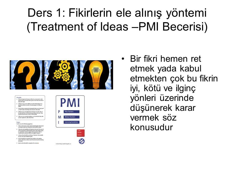 Ders 1: Fikirlerin ele alınış yöntemi (Treatment of Ideas –PMI Becerisi)