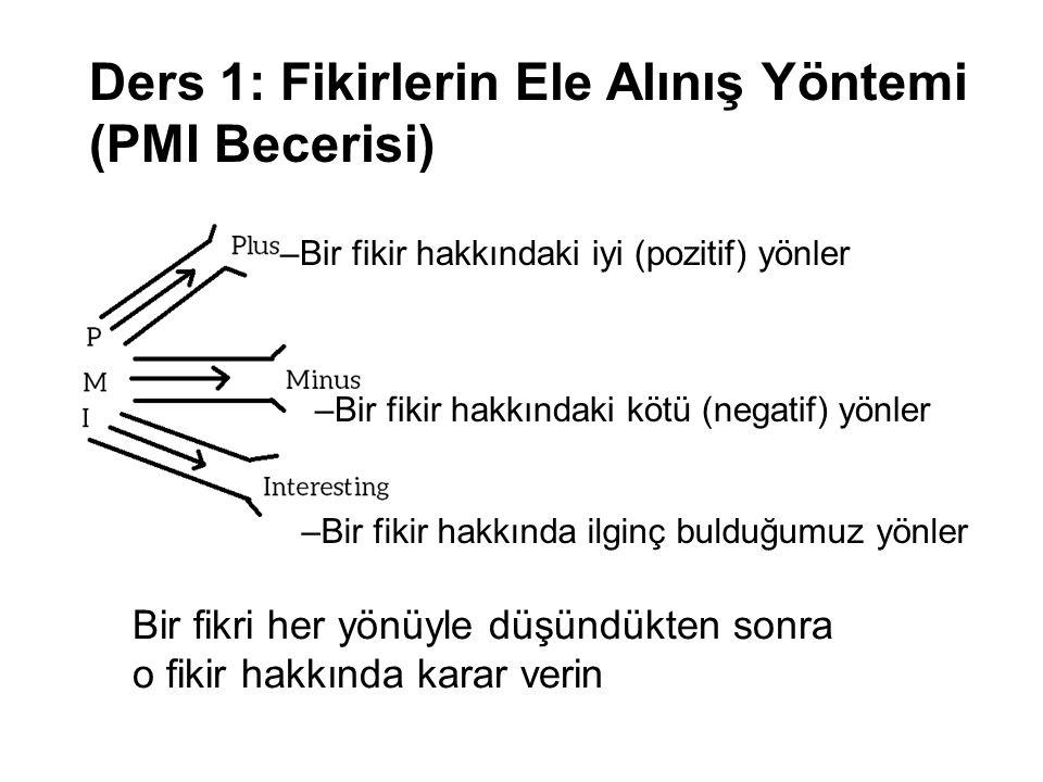 Ders 1: Fikirlerin Ele Alınış Yöntemi (PMI Becerisi)