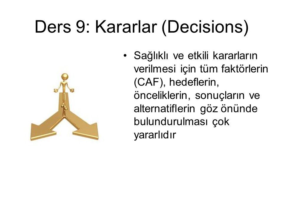 Ders 9: Kararlar (Decisions)