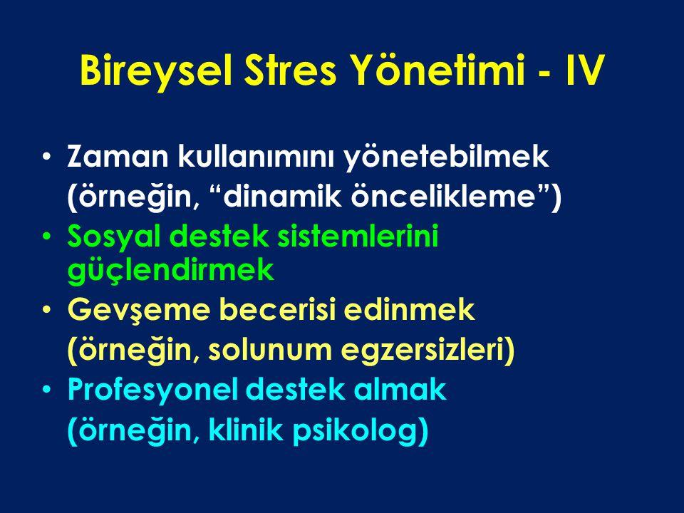Bireysel Stres Yönetimi - IV