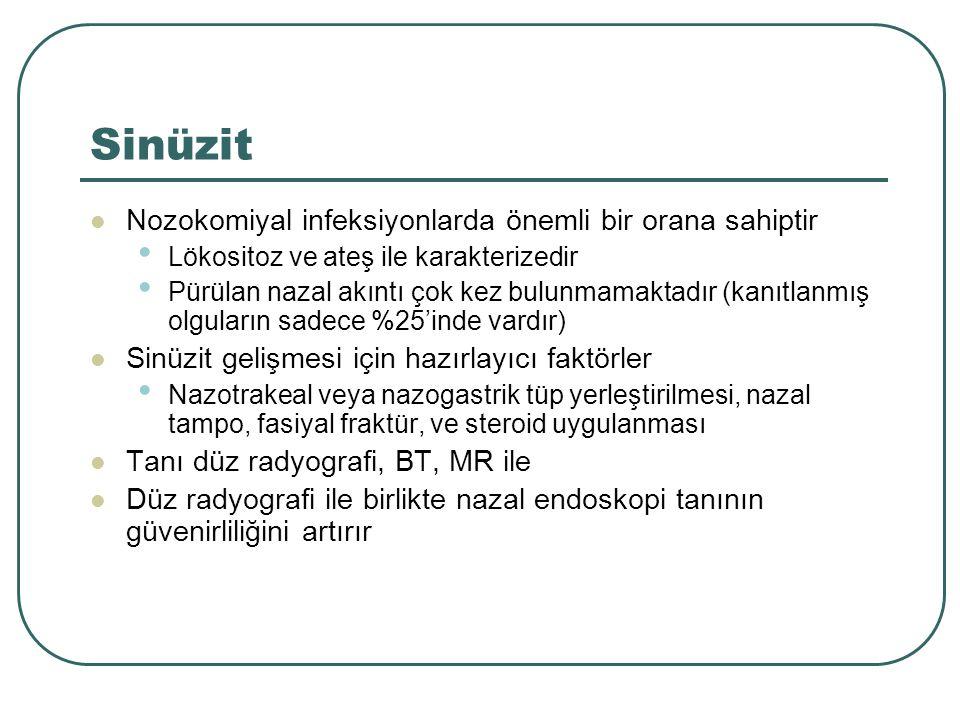 Sinüzit Nozokomiyal infeksiyonlarda önemli bir orana sahiptir