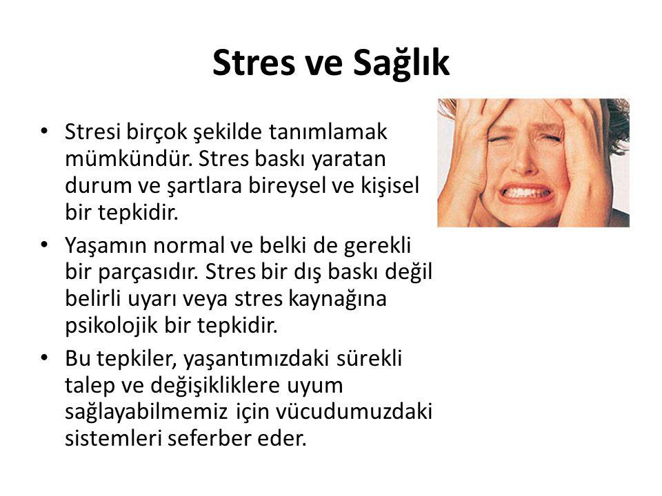 Stres ve Sağlık Stresi birçok şekilde tanımlamak mümkündür. Stres baskı yaratan durum ve şartlara bireysel ve kişisel bir tepkidir.