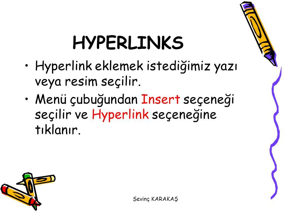 HYPERLINKS Hyperlink eklemek istediğimiz yazı veya resim seçilir.