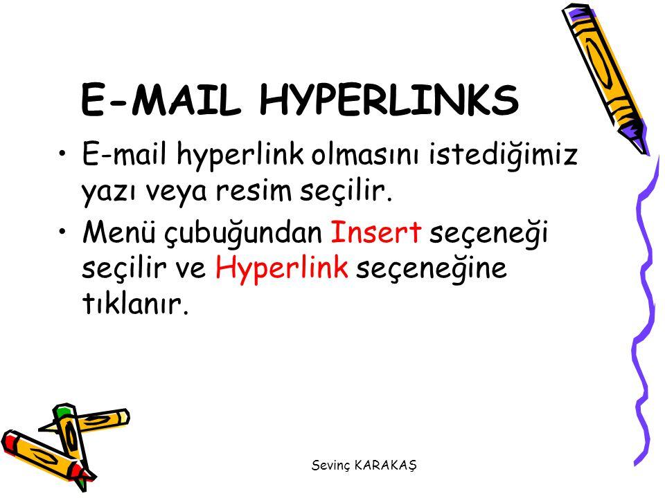 E-MAIL HYPERLINKS E-mail hyperlink olmasını istediğimiz yazı veya resim seçilir.
