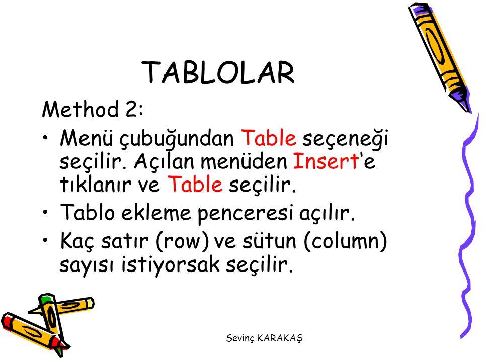 TABLOLAR Method 2: Menü çubuğundan Table seçeneği seçilir. Açılan menüden Insert'e tıklanır ve Table seçilir.