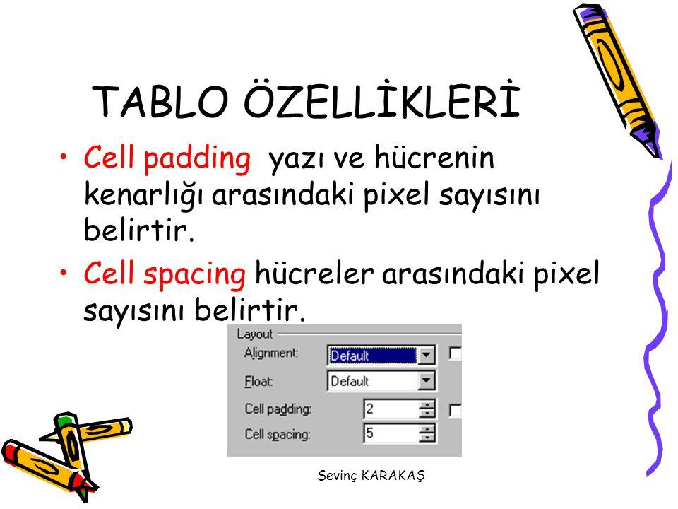 TABLO ÖZELLİKLERİ Cell padding yazı ve hücrenin kenarlığı arasındaki pixel sayısını belirtir.