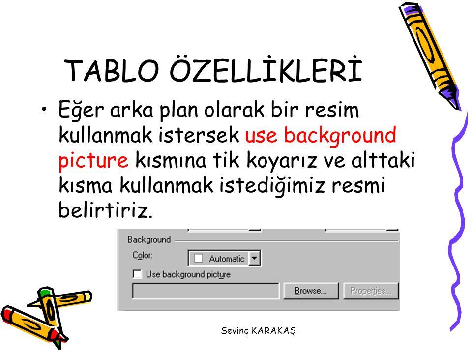 TABLO ÖZELLİKLERİ